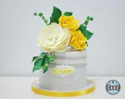 Yellow Roses White Peony Marble 60th Birthday Cake