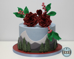 burgundy roses berries mountain cake
