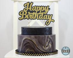 Black Gold Marble Happy Birthday Custom Cake