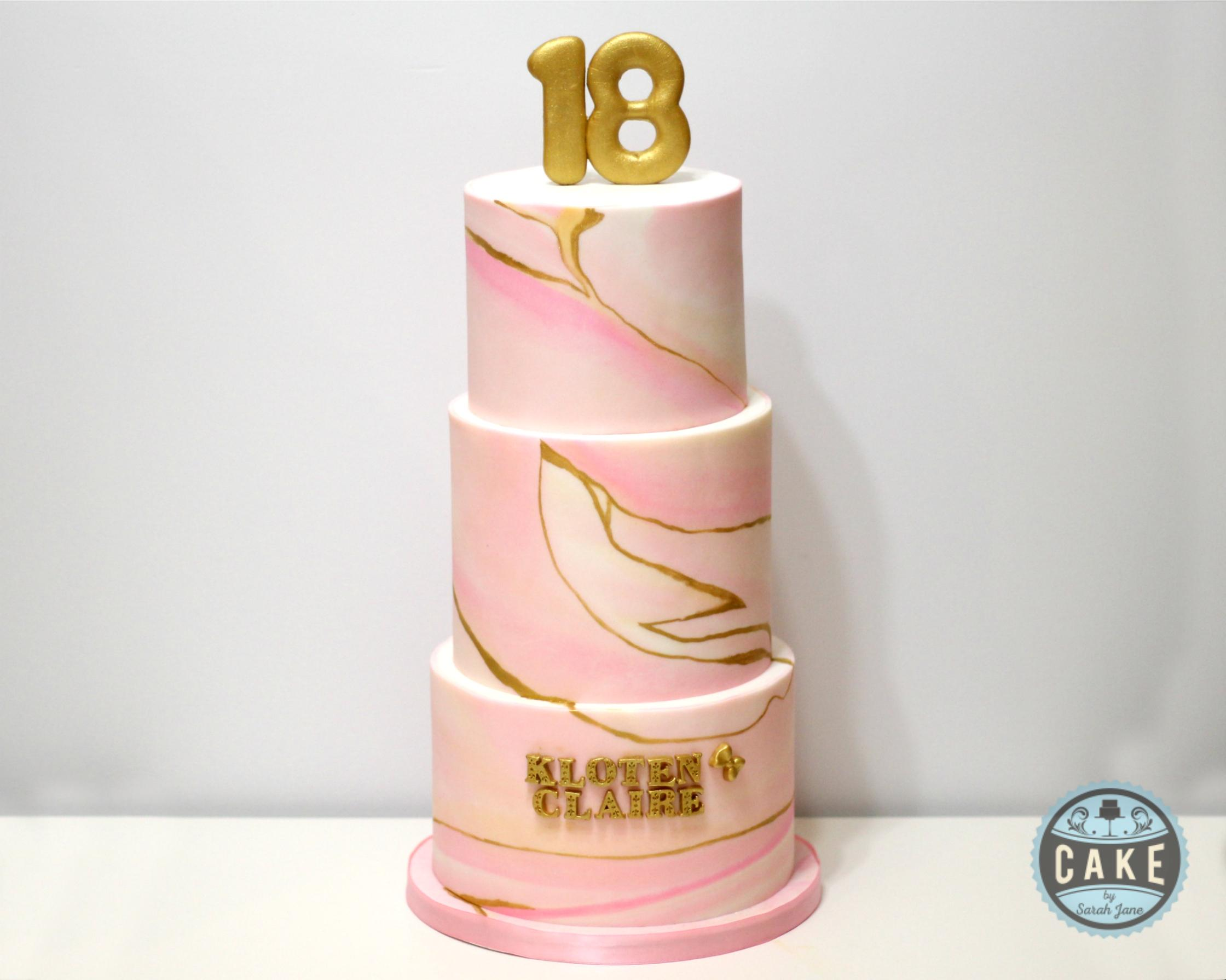 Custom Pink Marble Gold Birthday Cake
