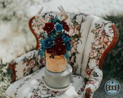 BOHO Wedding Cake Antlers Roses Watercolor leaves Macrame