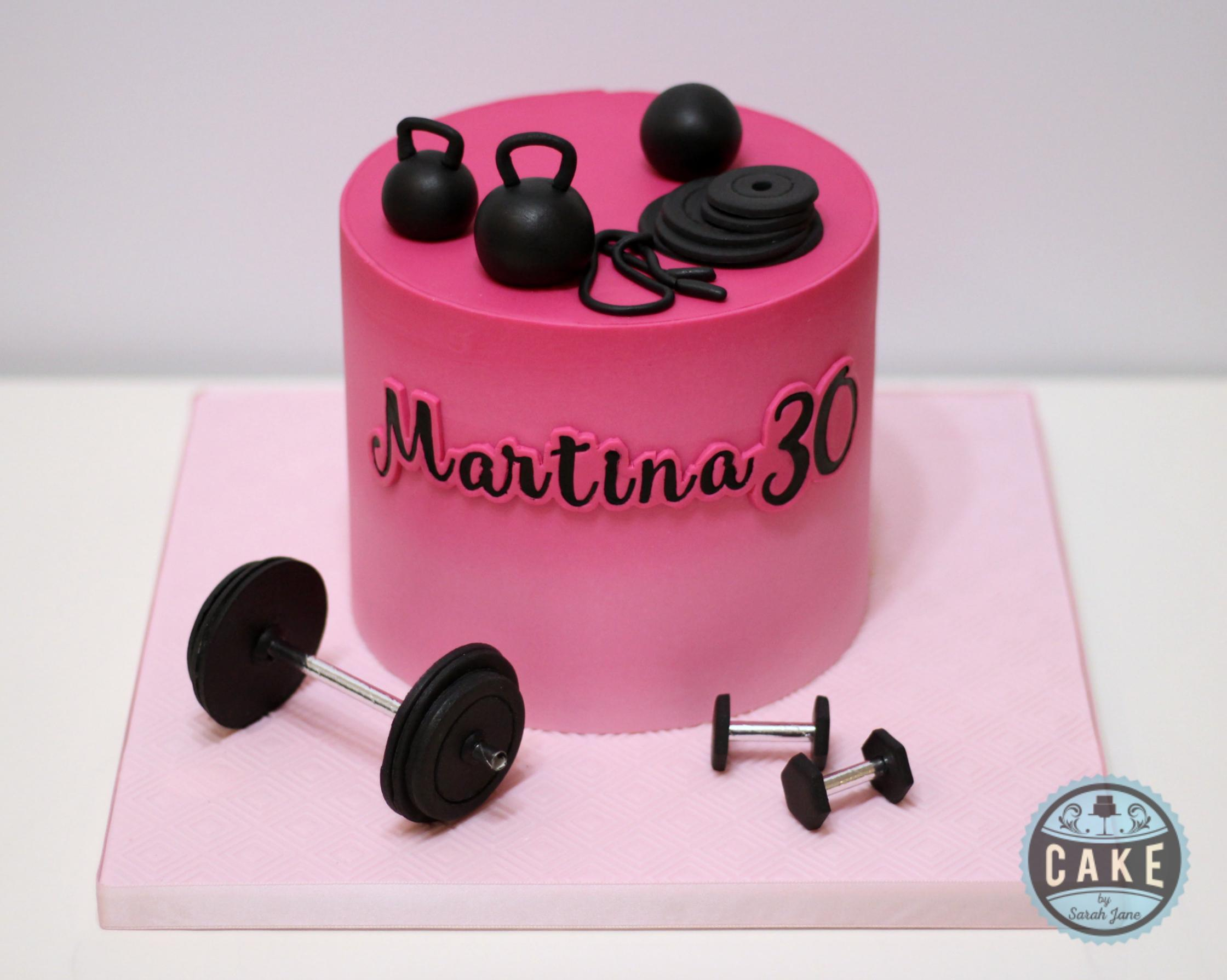 Pink Ombre Weightlifting birthday cake