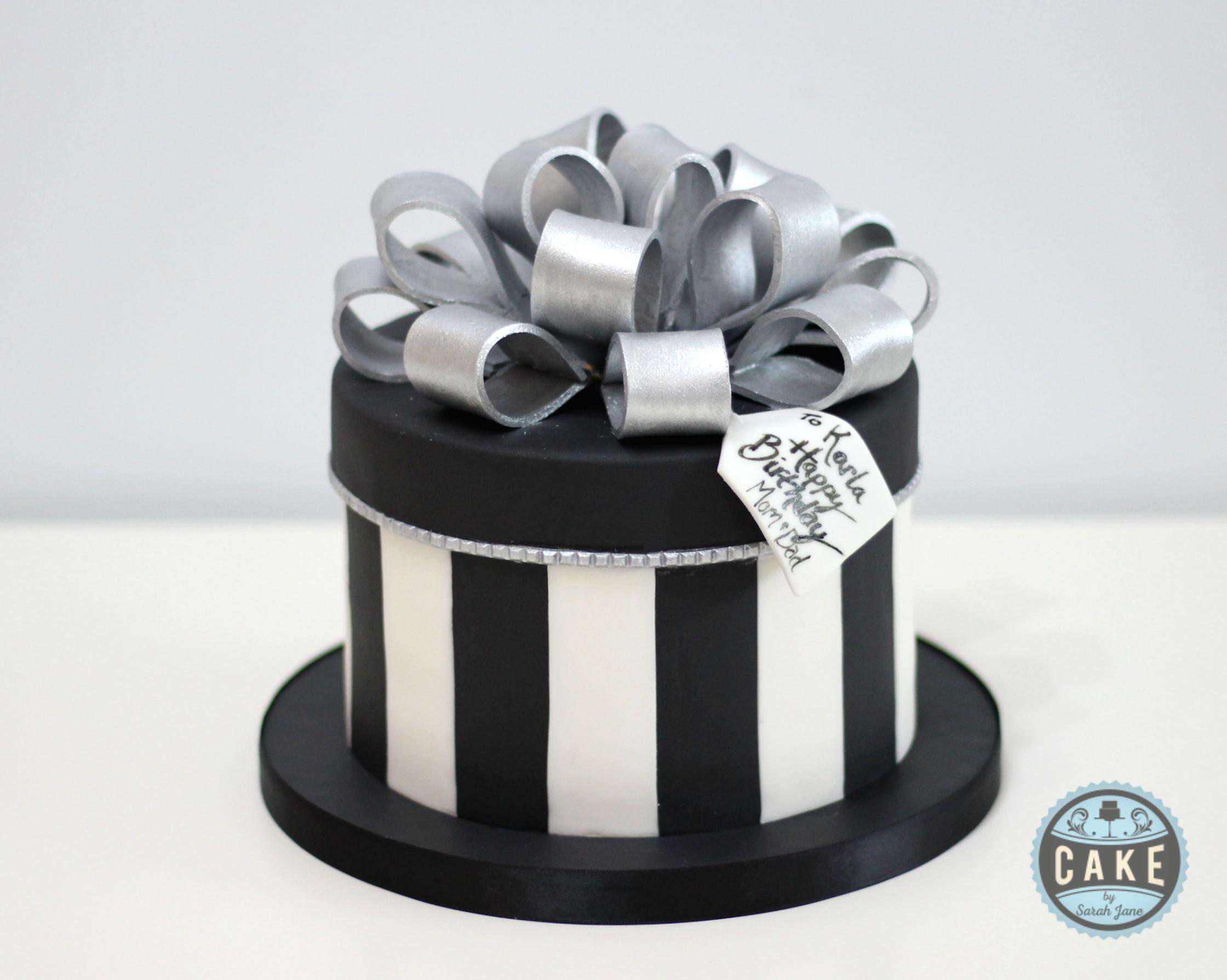 Gift Box Black and White Cake Silver Bow