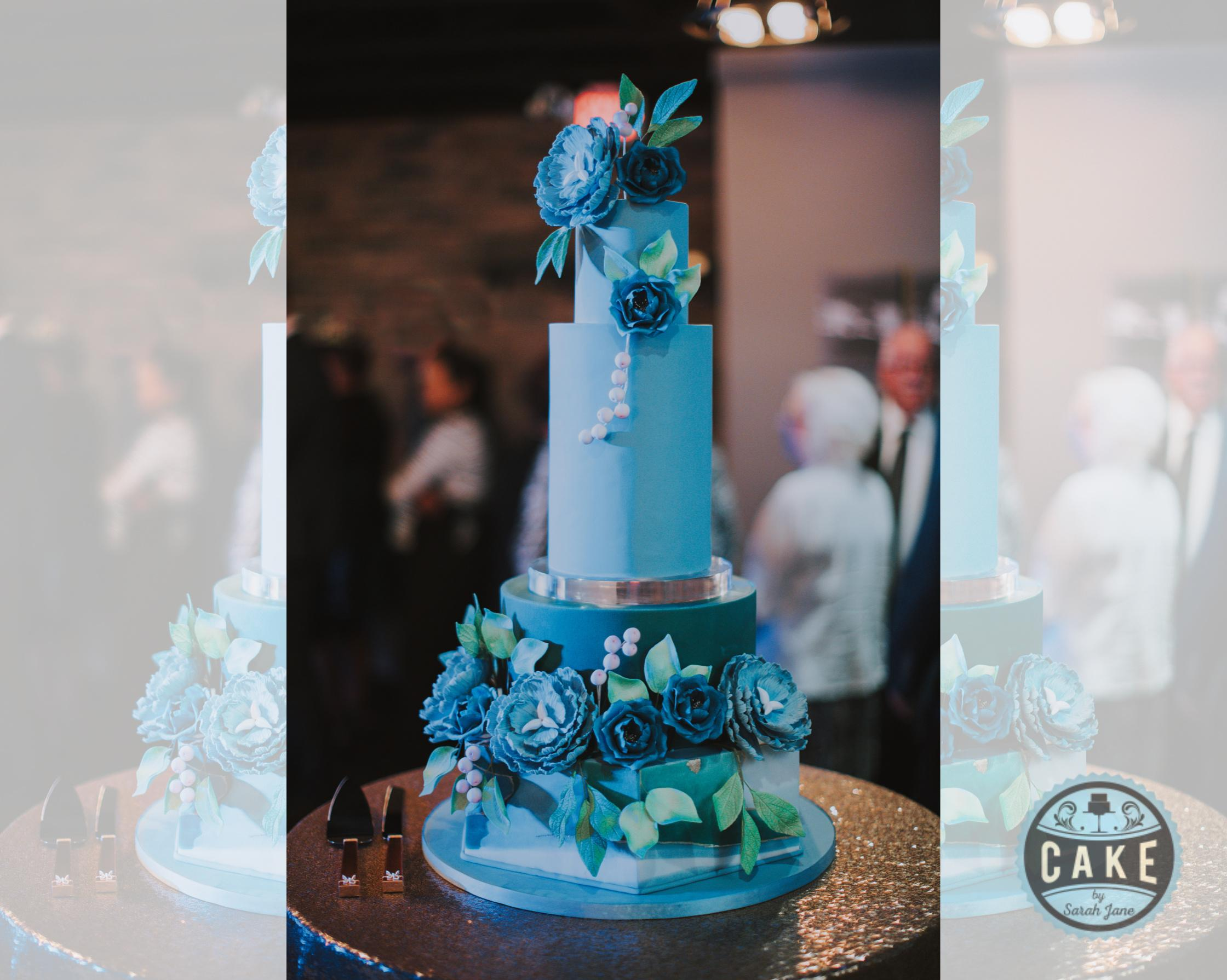 Modern Marble Colorful Wedding Cake Calg