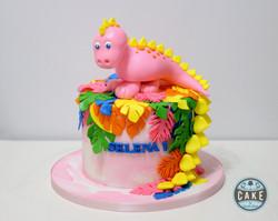 Pink Dinosaur Tropical Cake