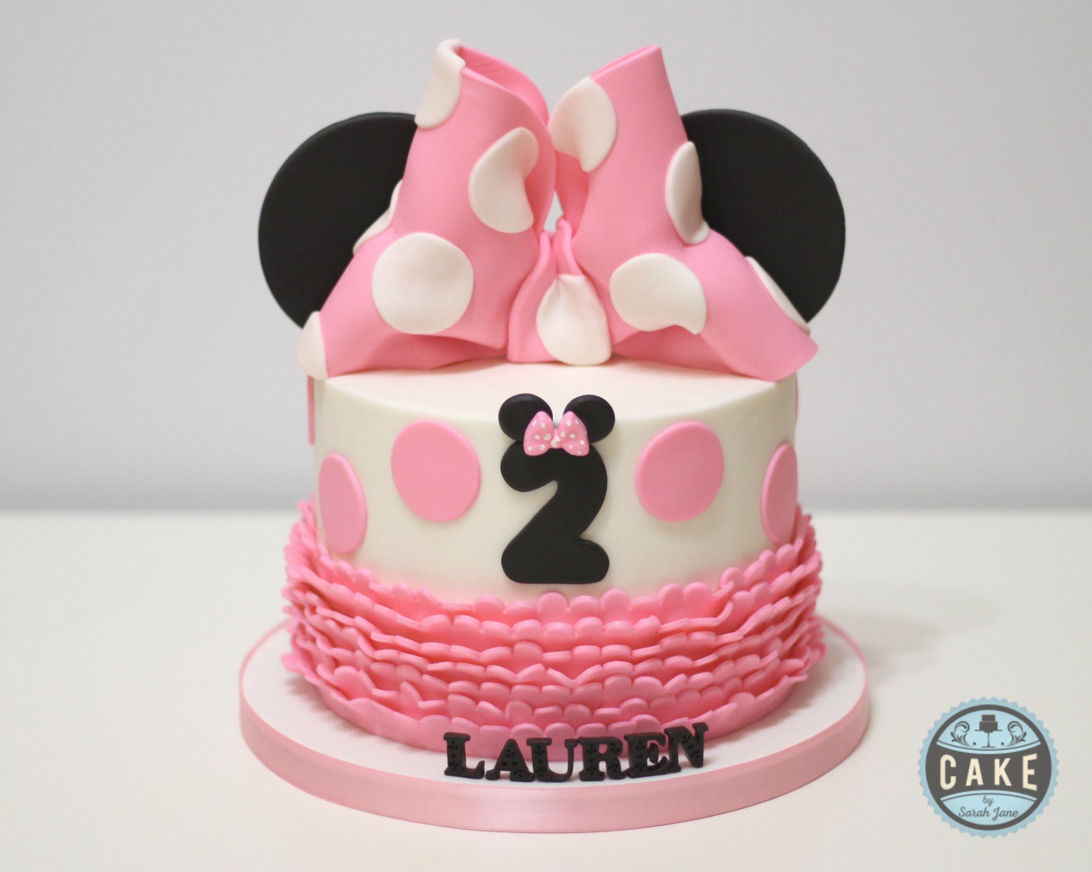 Pink Black Ruffles  polka dots Custom Cake