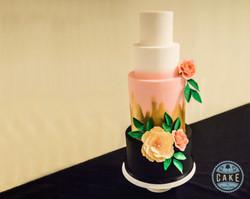 Black White Pink Gold Custom Wedding Cake Peony and Roses