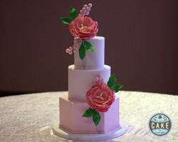 Blush White Peonies Wedding Cake