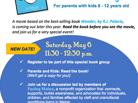 Parent-Child Book Discussion-Wonder by R.J. Palacio May 6th