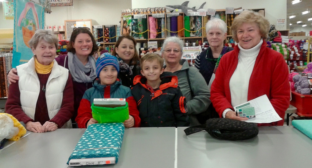 Fabric shopping with the Evergreen quilting crew!