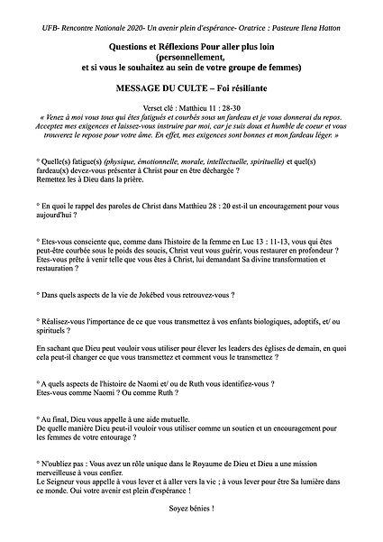 UFB Message Culte- Pour aller plus loin.