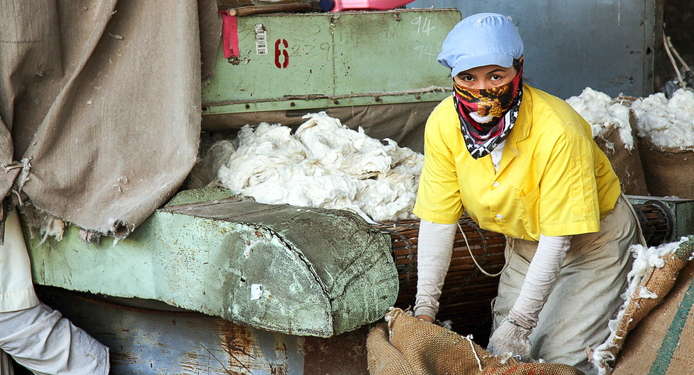 Cotton factory worker. Pathum Thani, Thailand.