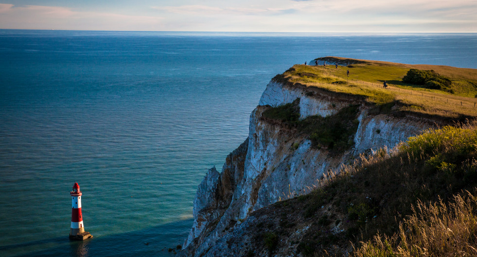 Beachy Head lighthouse, South Downs Way. Eastbourne, UK.