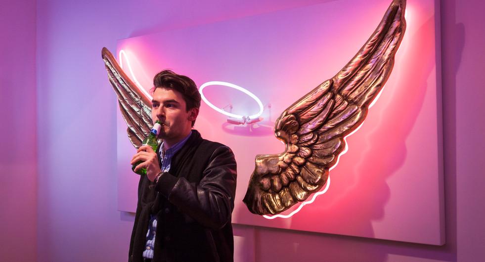 Chris Bracey neon art exhibition in Fitzrovia. London, UK.