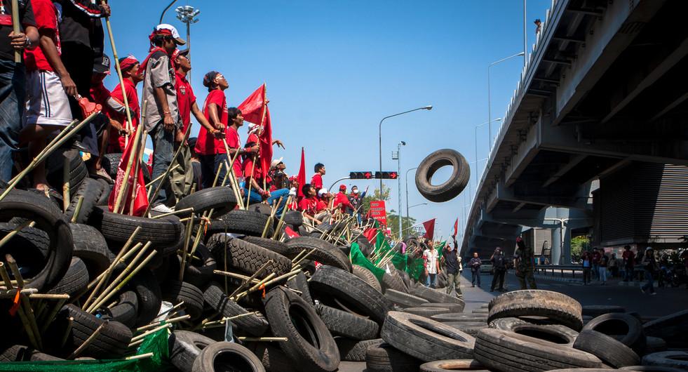 Red shirt protesters on Ratchadamri Road. Bangkok, Thailand.