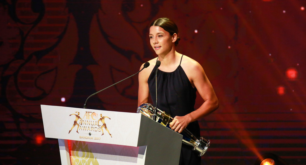 Samantha Kerr, 2017 AFC Women's Player of the Year. Bangkok, Thailand.