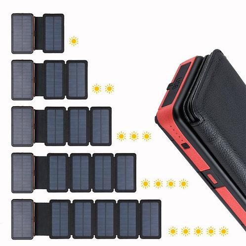 Solar Power Bank 20000mAh Dual USB External Battery Waterproof Polymer Battery