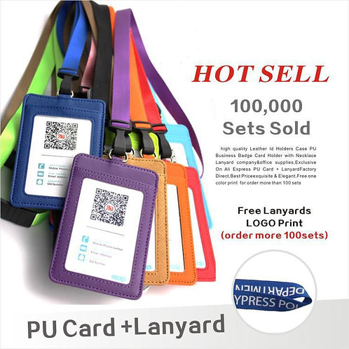 Leather  Id Holders Case PU Business Badge Card Holder