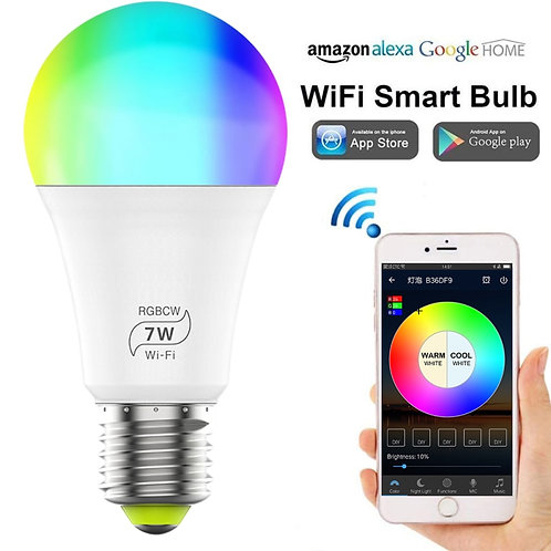 7W E27 WiFi Smart Light Bulb Dimmable Multicolor Wake-Up Lights No Hub Required