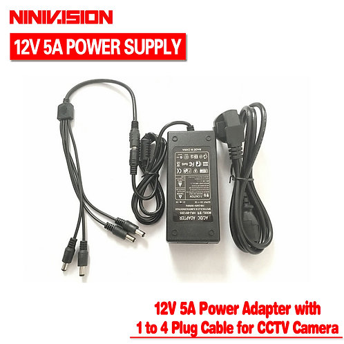 NINIVISION 12V 5A 4 Port CCTV Camera AC Adapter