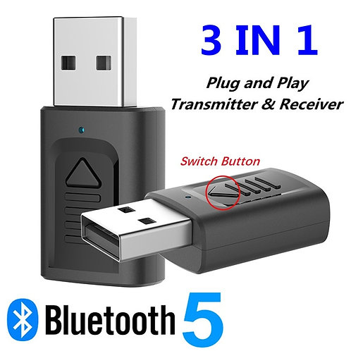 USB Bluetooth 5.0 Audio Receiver Transmitter 3 IN 1 3.5mm 3.5 Jack AUX RCA