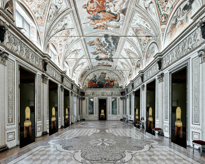 Tragic Chairs in a Virtual Installation at the Reggia di Venaria Reale, Dianne Blell, 2020 (Originating Photograph by David Burdeny)