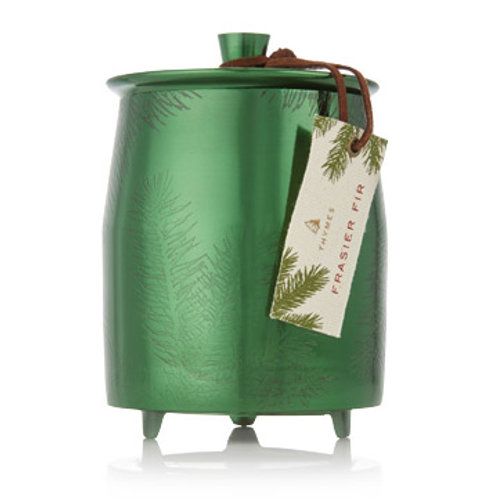 Frasier Fir Large Green Metal Candle