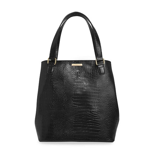Black Faux Croc Day Bag