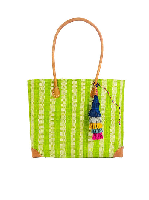 Zafran Lime Stripe Bag w/Tassel-Small