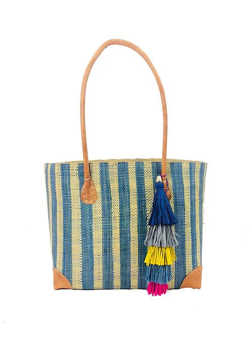 Zafron Turquoise Stripe Bag w/Tassel-Small