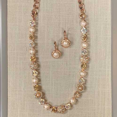 24k Rose Gold Plated Swarovski Pearl Set
