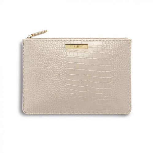 Oyster Faux Croc Perfect Pouch