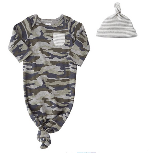 Camo Sleep Gown & Cap