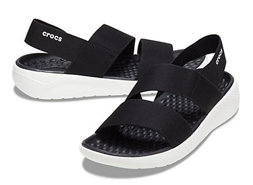 Crocs 206081-066 LiteRide Stretch Sandal Womens Black /White