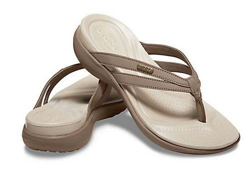 Crocs 205797-27O Basic Strappy Flip Flop Tumbleweed/Cobblestone