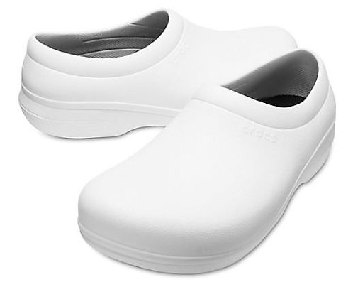 Crocs 205073-100 On The Clock Slip Resistant Slip Ons Unisex White