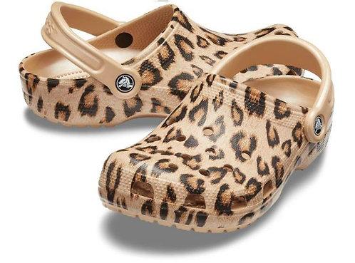 Crocs 205838-98R Classic Printed Clogs Unisex Leopard/Gold