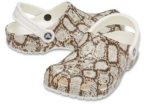 Crocs 206480-13T Classic Snake Printed Clogs Unisex Oyster