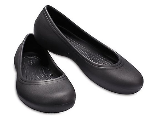 Crocs 205074-001 At Work Slip Resistant Flats Women's Black