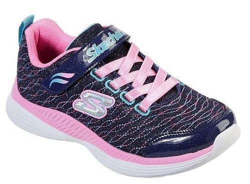 Skechers 83017WL/NVPK Sparkle Spinner Wide Sneakers Girl's Navy/Pink