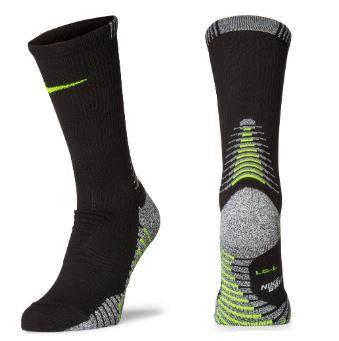Nike SX5752-010 Grip Lightweight Crew Socks 1 Pair Unisex Black/Volt