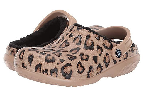 Crocs 205857-95K Classic Printed Lined Clogs Unisex Leopard/Gold