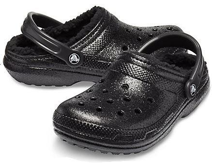 Crocs 205842-060 Classic Glitter Lined Clogs Unisex Black