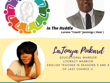 "Lurone ""Coach"" Jennings talks with Professor LaTonya Pinkard"