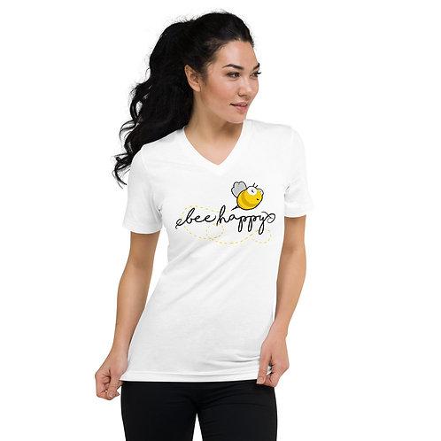 Bee Happy Short Sleeve V-Neck T-Shirt