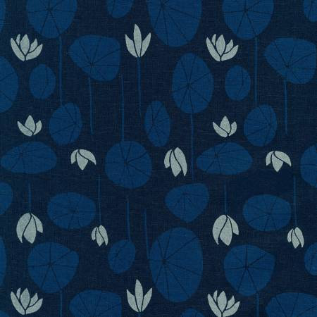 Midnight Lilypad Cotton/Linen Blend