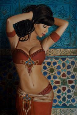Dancer in Front of Blue Tiles