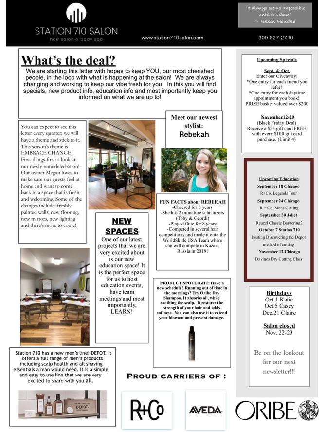 Station 710 Salon Fall Newsletter
