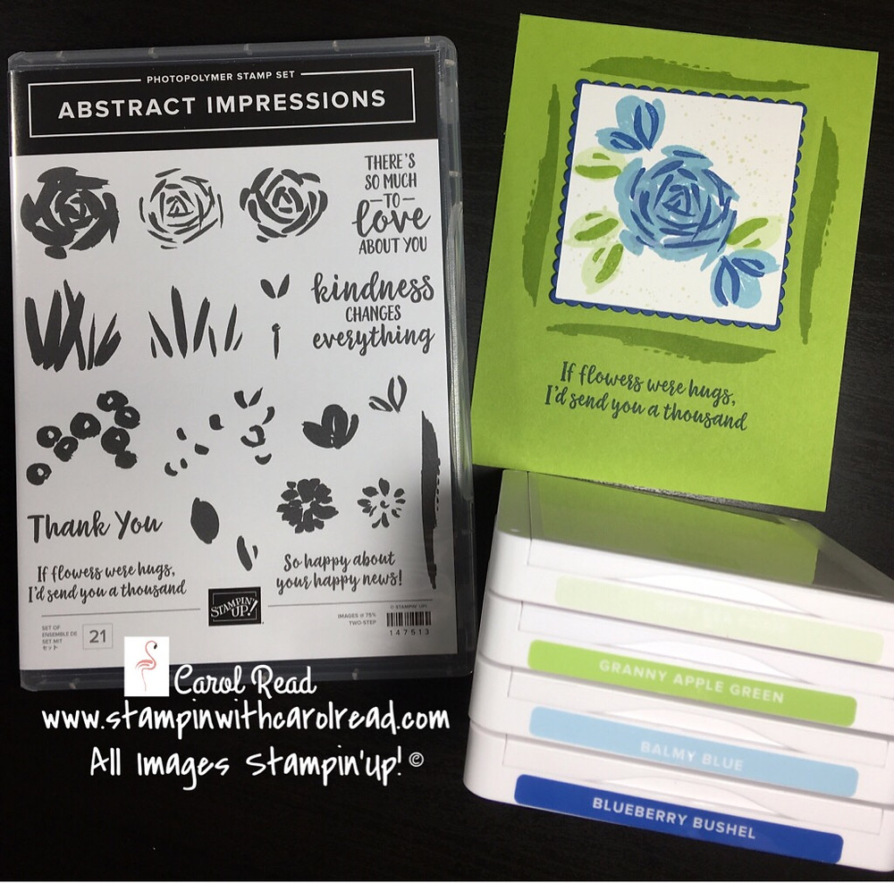 Abstract Impressions stamp set Blue and Green
