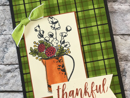 """Thankful"" plaid card"